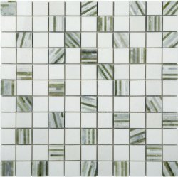 Marble Mosaic Multi Green Bamboo 25x25