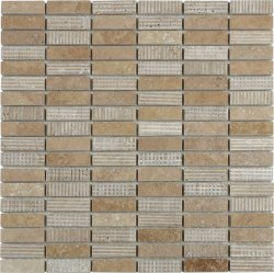Marble Mosaic Travertine Noce 15x50