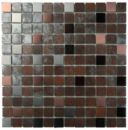 Metalgres Metallic Antique Iron 25x25 Porcelain Mosaic