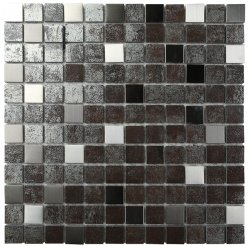Metalgres Metallic Antique Silver 25x25 Porcelain Mosaic