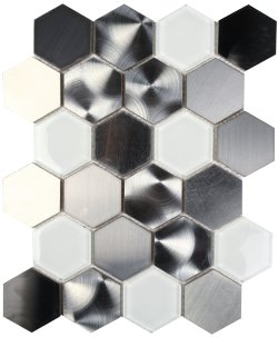 Metalplus Moonstone Hexagon 62x72 Porcelain Mosaic