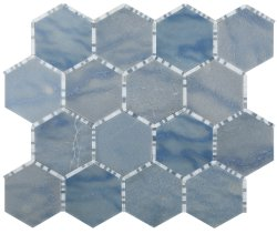 Waltz Hexagon Natural Stone Marble Azul Macaubas 266x307 Sheet Polished Mosaic