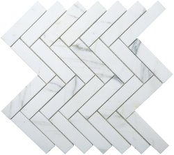 Herringbone Natural Stone Marble Calacatta 25x100 Honed Mosaic
