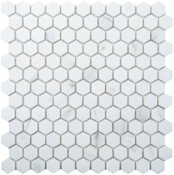 Hexagon Natural Stone Marble Calacatta 25x29 Polished Mosaic