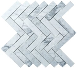 Herringbone Natural Stone Marble Carrara C/CD 25x100 Honed Mosaic