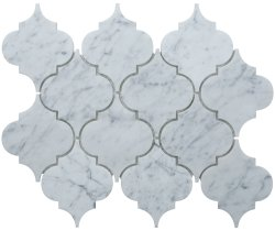 Arabesque Natural Stone Marble Carrara C/CD 250x210 Sheet Polished Mosaic
