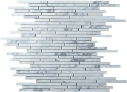 Bullets Natural Stone Marble Carrara C/CD 300x300 Sheet Polished Mosaic