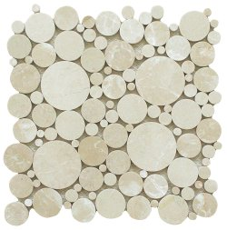 Bubbles Natural Stone Marble Crema Marfil 300x300 Sheet Polished Mosaic