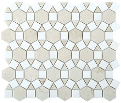 Sunflower Natural Stone Marble Crema Marfil + Thassos 276x240 Sheet Polished Mosaic