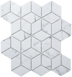 Diamond Cube Natural Stone Marble Carrara Venatino 258x298 Sheet Polished Mosaic