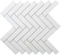 Herringbone Natural Stone Marble Dolomite White 25x100 Honed Mosaic
