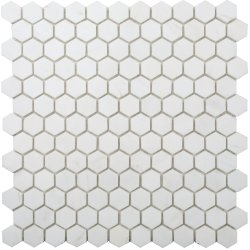 Hexagon Natural Stone Marble Dolomite White 25x29 Polished Mosaic