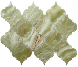 Arabesque Natural Stone Marble Green Onyx 250x210 Sheet Polished Mosaic