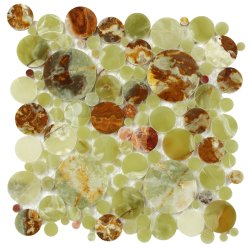 Bubbles Natural Stone Marble Green Onyx 300x300 Sheet Polished Mosaic