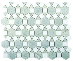 Sunflower Natural Stone Marble Green Opal + Thassos 276x240 Sheet Honed Mosaic