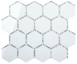 Waltz Hexagon Natural Stone Marble Milk Glass 266x307 Sheet Polished Mosaic