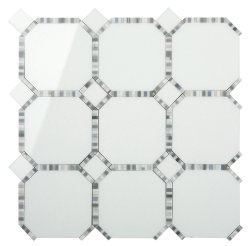 Waltz Octagon Natural Stone Marble Milk Glass 316x316 Sheet Polished Mosaic