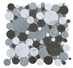 Bubbles Natural Stone Marble Multi Grey 300x300 Sheet Polished Mosaic