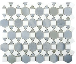 Sunflower Natural Stone Marble Moon Stone + Thassos 276x240 Sheet Polished Mosaic