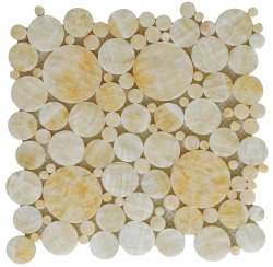 Bubbles Natural Stone Marble Golden Onyx 300x300 Sheet Polished Mosaic