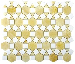 Sunflower Natural Stone Marble Golden Onyx + Thassos 276x240 Sheet Polished Mosaic