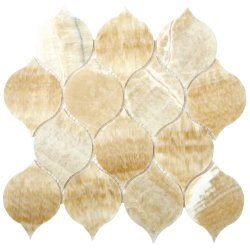 Tortoise Natural Stone Marble Golden Onyx 260x260 Sheet Polished Mosaic