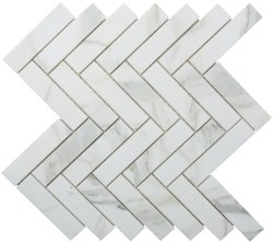 Herringbone Natural Stone Marble Calacatta Gold 25x100 Honed Mosaic