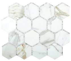 Waltz Hexagon Natural Stone Marble Calacatta Gold 266x307 Sheet Polished Mosaic