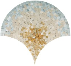 Peacock Natural Stone Marble Multi Gold 430x415 Sheet Polished Mosaic