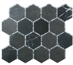Waltz Hexagon Natural Stone Marble Persian Blue 266x307 Sheet Polished Mosaic