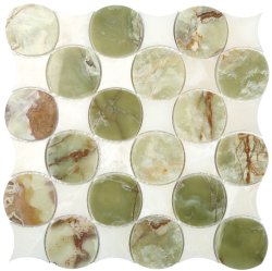 Shogun Natural Stone Marble Green onyx + White Onyx 340x340 Sheet Polished Mosaic