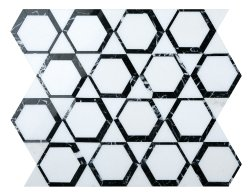 Space Natural Stone Marble Thassos + Nero Marquina 300x347 Sheet Polished Mosaic