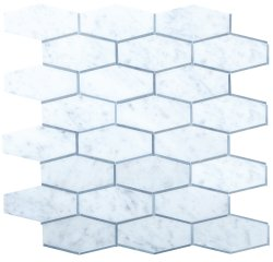 Tie Natural Stone Marble Carrara Venatino + Moonstone 250x320 Sheet Polished Mosaic