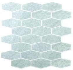 Tie Natural Stone Marble Green Opal + Thassos 250x320 Sheet Polished Mosaic
