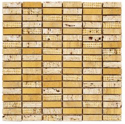 Bluetooth Natural Stone Marble Travertine Giallo 15x50, 300x306 Sheet Bluetooth Mosaic