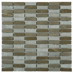 Bluetooth Natural Stone Marble Vinalisa Brown 15x50, 300x306 Sheet Bluetooth Mosaic