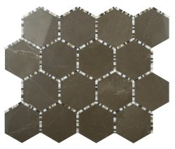 Waltz Hexagon Natural Stone Marble Vinalisa Brown 266x307 Sheet Polished Mosaic
