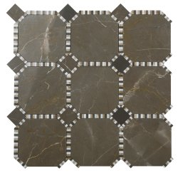 Waltz Octagon Natural Stone Marble Vinalisa Brown 316x316 Sheet Polished Mosaic