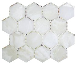 Waltz Hexagon Natural Stone Marble White Onyx 266x307 Sheet Polished Mosaic
