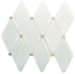 Golden Age Crystal Glass Super White + EL201 Diamond Design Glossy mosaic