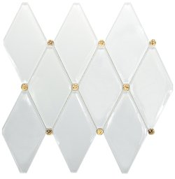 Golden Age Crystal Glass Super White + EL201 Dot Design Glossy mosaic