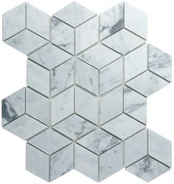 Diamond Cube Natural Stone Marble Carrara C/CD 258x298 Sheet Polished Mosaic