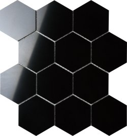 BNW Jet Black Hexagon Extra Polished Porcelain Mosaic