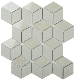 Durastone Ash Grey Diamond Cube 80x46 Polished+Matt Porcelain Mosaic