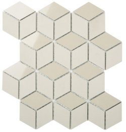 Durastone Botticino Diamond Cube 80x46 Polished+Matt Porcelain Mosaic