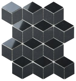 Durastone Charcoal Diamond Cube 80x46 Polished+Matt Porcelain Mosaic