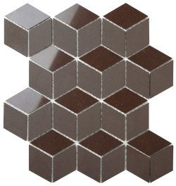 Durastone Choc Diamond Cube 80x46 Polished+Matt Porcelain Mosaic