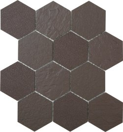 Durastone Choc Hexagon 85x96 Brushed+Rockface+Stream Porcelain Mosaic