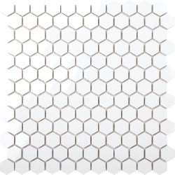 BNW Ultra White Baby Hexagon Polished Porcelain Mosaic