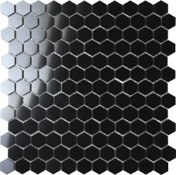 BNW Jet Black Baby Hexagon 25x29 piece, 304x297 sheet, Polished Porcelain Mosaic
